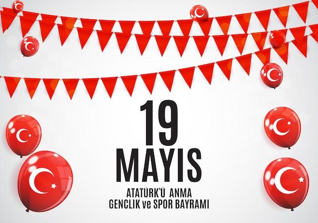 Comemoração de ataturk, juventude e esportes dia fundo