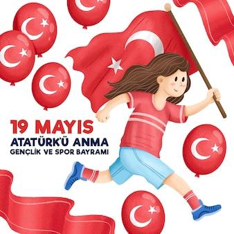 Comemoração desenhada à mão de ilustração do dia ataturk, da juventude e do esporte