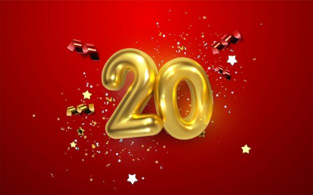 Comemoração do 20º aniversário. números dourados com confetes brilhantes, estrelas, brilhos e fitas de serpentina. ilustração festiva