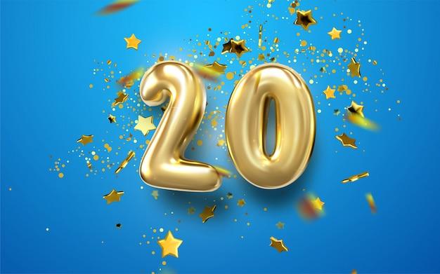 Comemoração do 20º aniversário. números dourados com confetes brilhantes, estrelas