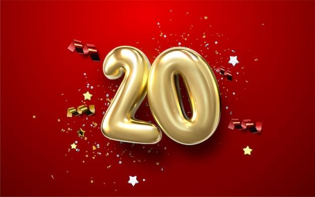 Comemoração do 20º aniversário. números dourados com confetes brilhantes, estrelas,
