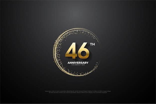 Comemoração do 46º aniversário com areia dourada enrolada