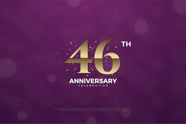 Comemoração do 46º aniversário com fundo roxo e respingos de ouro
