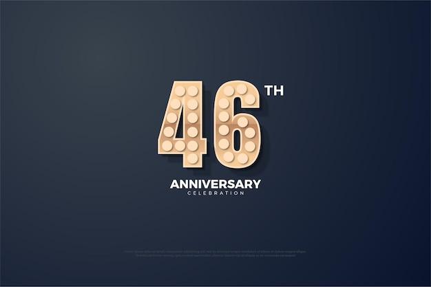 Comemoração do 46º aniversário com números de lâmpadas acesas