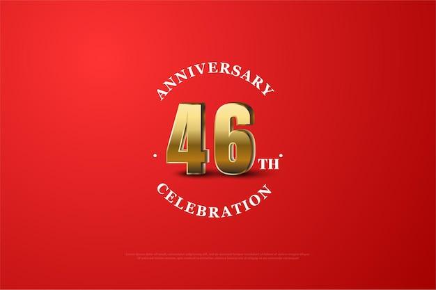 Comemoração do 46º aniversário com números dourados cintilantes e fundo vermelho