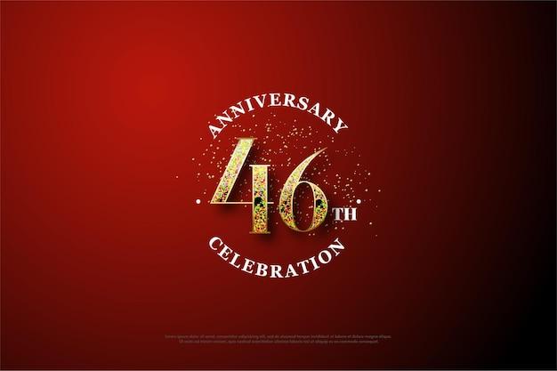 Comemoração do 46º aniversário com números dourados desaparecendo