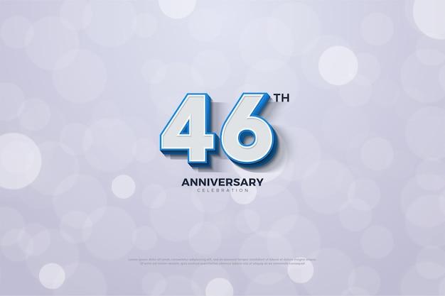 Comemoração do 46º aniversário com números em negrito e listrados em azul