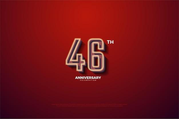 Comemoração do 46º aniversário com números listrados em branco leitoso