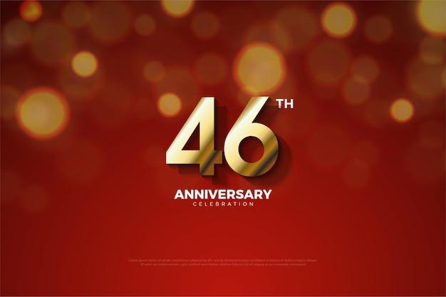 Comemoração do 46º aniversário com números sombreados