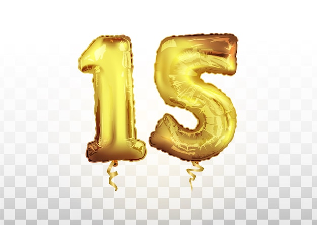 Comemoração do aniversário de quinze anos. balão de folha de ouro de número 15 do aniversário. feliz aniversário, pôster de parabéns. fundo do vetor