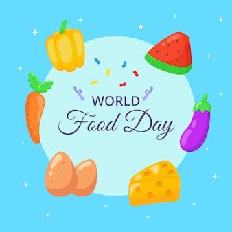 Comemoração do banner do dia mundial da alimentação desenhada à mão.