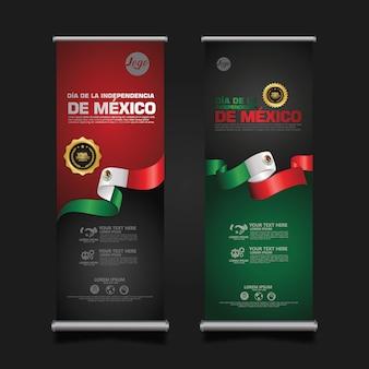 Comemoração do dia da independência do méxico, enrole o modelo de conjunto de banner.