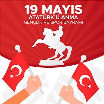 Comemoração do gradiente de ilustração do dia ataturk, da juventude e do esporte