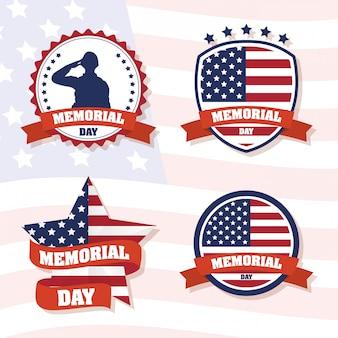 Comemoração do memorial day com bandeira eua definir quadros