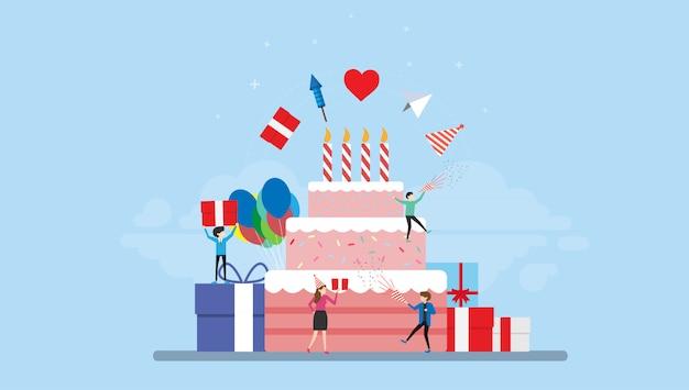 Comemoração festa aniversário com pessoas minúsculas ilustração personagem