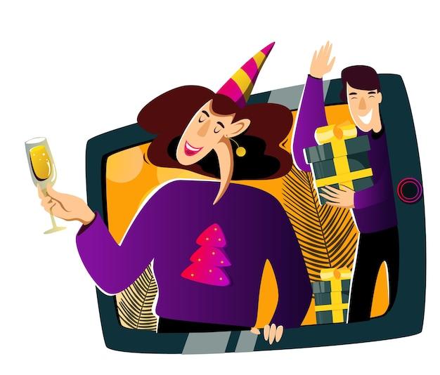 Comemoração online do ano novo um grupo de amigos parabeniza o espectador por meio de uma videochamada