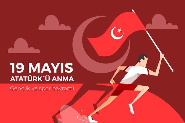 Comemoração plana orgânica de ilustração do dia ataturk, da juventude e do esporte