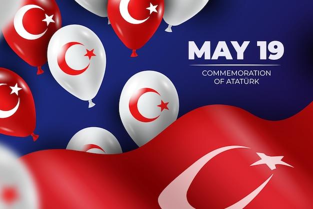 Comemoração realista do ataturk, ilustração do dia da juventude e do esporte