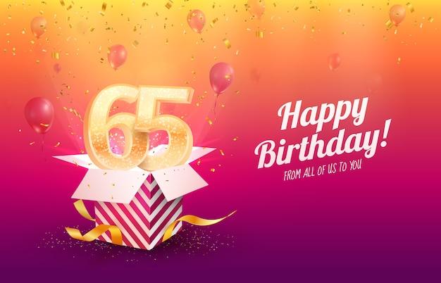 Comemorando a ilustração em vetor aniversário de 65 anos. celebração de sessenta e cinco anos