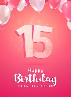Comemorando aniversário, sobre fundo vermelho suave. celebração de aniversário de quinze anos