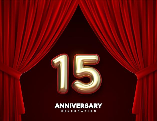 Comemorando o 15º aniversário. números de ouro com confetes brilhantes, estrelas, lantejoulas e serpentinas