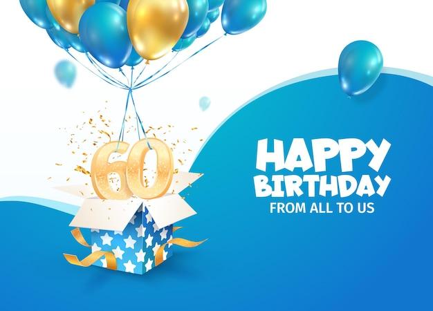 Comemorando o aniversário do º ano, ilustração vetorial, comemoração do aniversário de 60 anos, dia do nascimento do adulto aberto