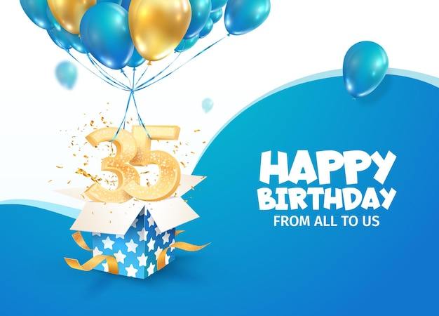 Comemorando o aniversário do décimo ano, ilustração vetorial, comemoração do aniversário de trinta e cinco anos, nascimento adulto