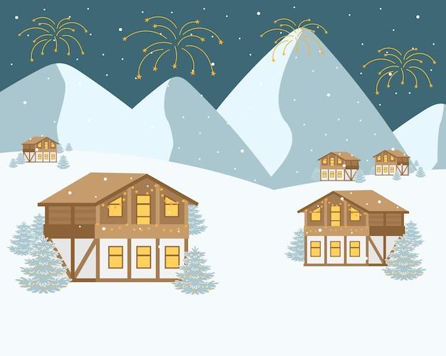 Comemorando o ano novo nas montanhas no resort