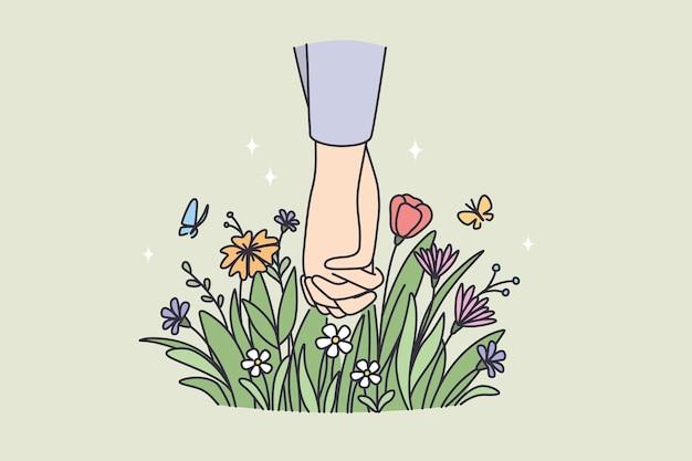 Comemorando o conceito de feriado do dia dos namorados. mãos de casal feliz e amado de mãos dadas com flores abaixo e ilustração vetorial de botões florescendo