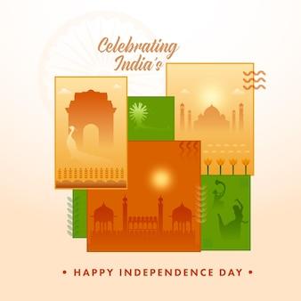 Comemorando o conceito do dia da independência da índia com belas imagens diversas do famoso monumento e mostrando sua cultura ao longo do fundo.