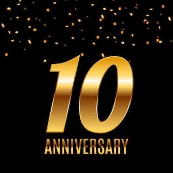 Comemorando o design do modelo do emblema de 10 anos com fundo de pôster de números dourados. ilustração vetorial