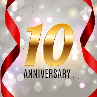 Comemorando o modelo de emblema de 10 aniversário design com fundo de cartaz de números de ouro. ilustração