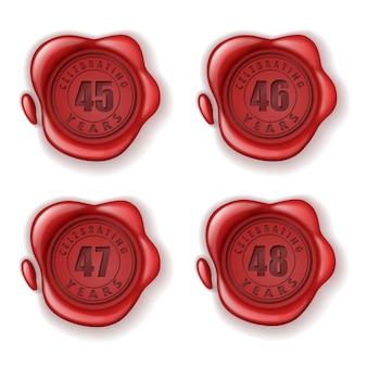 Comemorando o selo de cera de cartão de 45-48 anos