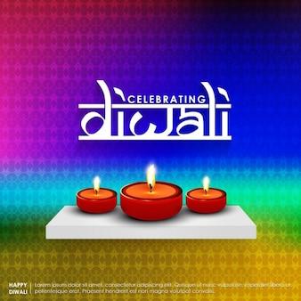 Comemorando texto diwali com lâmpadas de óleo na prateleira