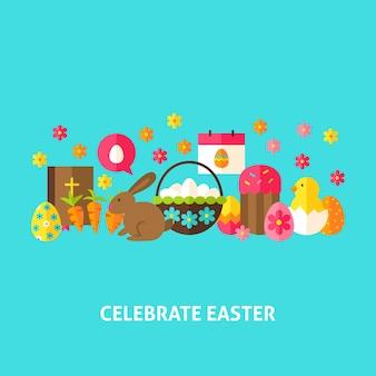 Comemore o cartão de páscoa. ilustração em vetor design plano. cartaz de férias de primavera.