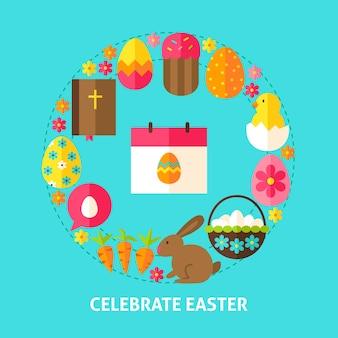 Comemore o cartão postal da páscoa. ilustração em vetor design cartaz. coleção de objetos de férias de primavera.