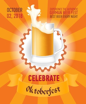 Comemore o design de cartaz laranja octoberfest