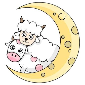 Comemore o mês de eid al adha, arte de ilustração vetorial. imagem de ícone do doodle kawaii.