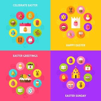Comemore os conceitos da páscoa. ilustração em vetor de círculo de infográficos de férias de primavera com ícones planas.