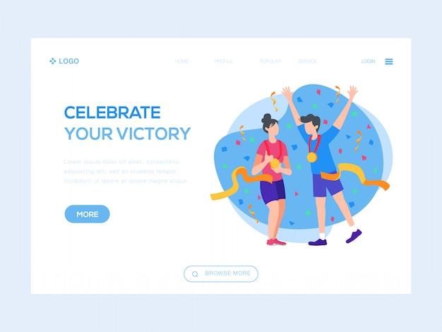 Comemore sua ilustração da web de vitória