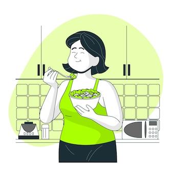 Comendo a ilustração do conceito de comida saudável