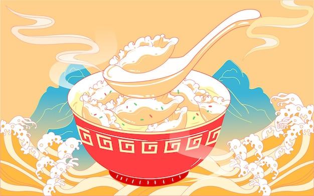 Comendo bolinhos solstício de inverno termos solares festival da primavera comida maré nacional vento ilustração
