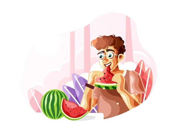 Comendo uma melancia fresca quando o verão