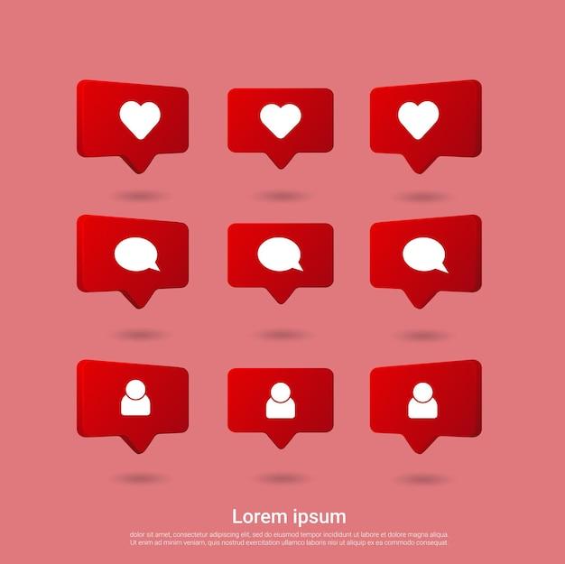 Comentar seguir ícone notificações de mídia social Vetor Premium