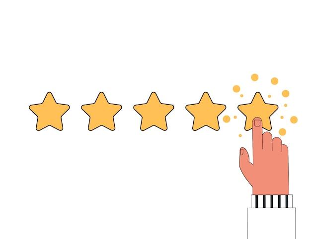 Comentários de clientes, classificação, conceito de feedback do usuário. o dedo humano clica na quinta estrela, deixando uma classificação positiva.