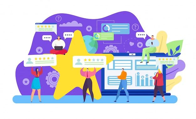 Comentários de clientes, pessoas pequenas dos desenhos animados segurando estrelas de avaliação revisam no conceito de feed de comentários em branco