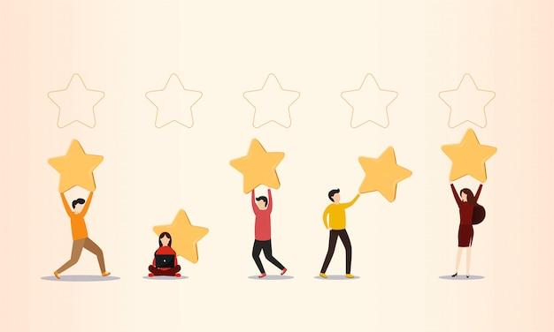 Comentários de clientes, pessoas segurando estrelas