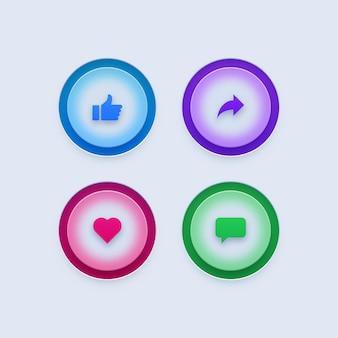 Comente como, compartilhe e ame ícones de mídia social