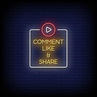 Comente como e compartilhe texto de estilo de letreiros de néon