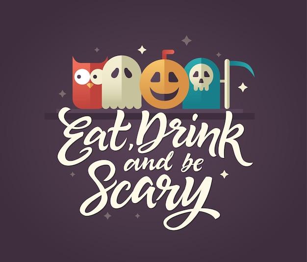 Comer, beber e ser assustador - cartão de halloween com texto de caligrafia em fundo roxo escuro. letras de caneta pincel desenhada à mão com estrelas ao redor e símbolos padrão acima - coruja, fantasma, abóbora, ceifador